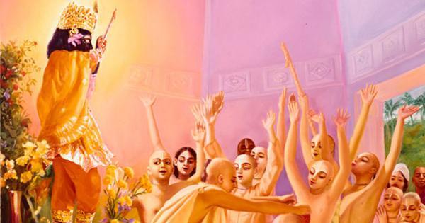 Krishnadasa Kaviraj Blessed with the Garland