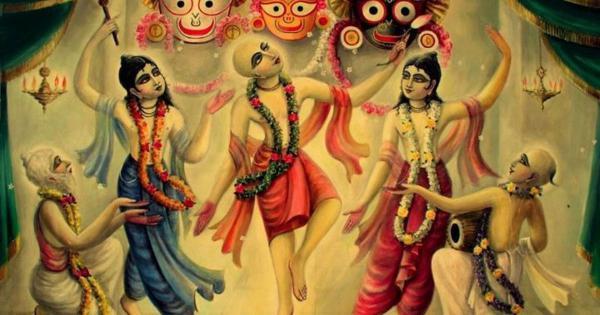 Lord Chaitanya, Lord Nityananda, And Associates Circumambulate Lord Jagannath
