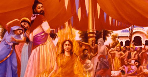 Sati Causes Her Body To Set On Fire And Burn To Ashes